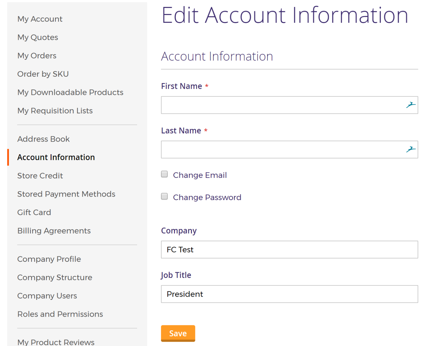 Account information page