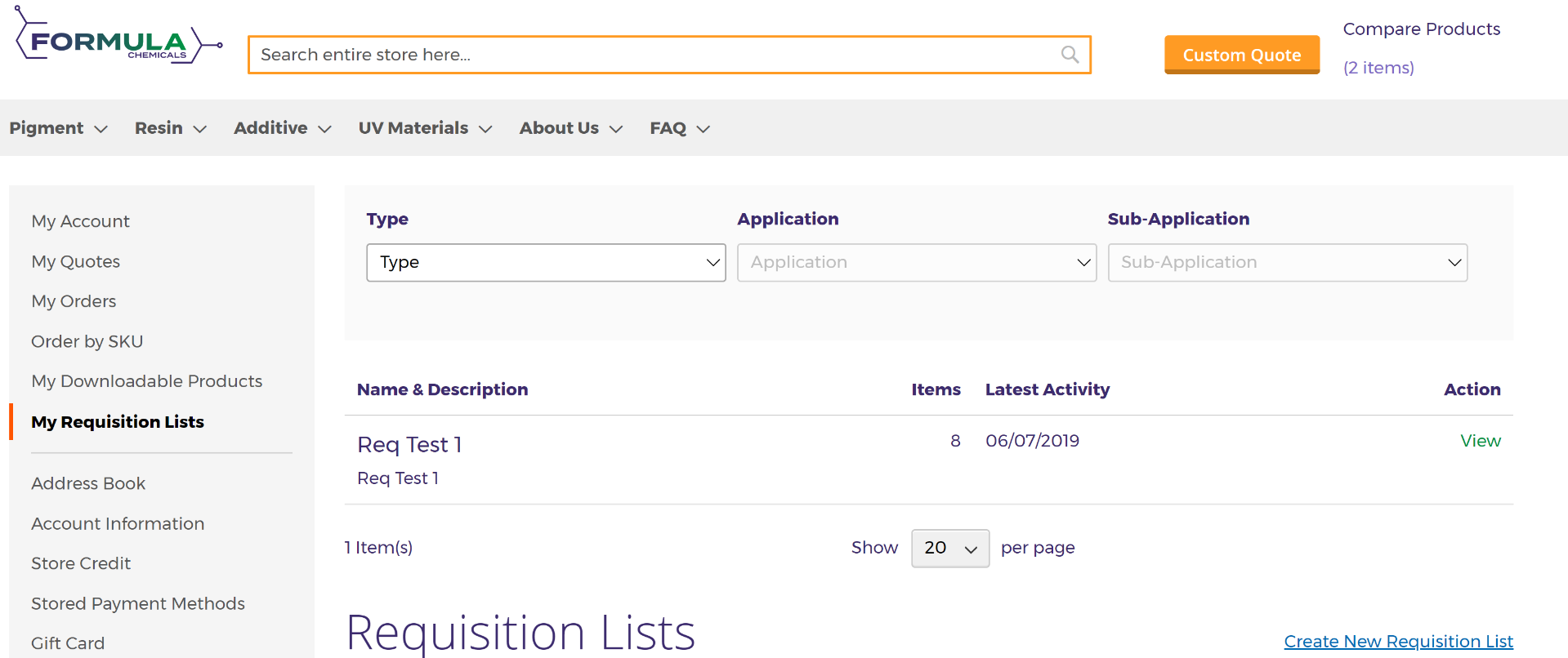 Create a new requisition list